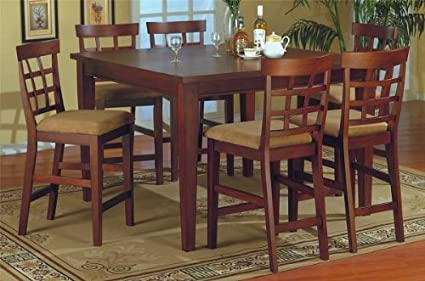 Amazon Com Modern Counter Height 7 Pc Pub Bar Dining Table Set