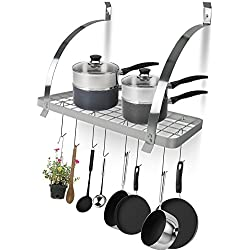 Sorbus Kitchen Wall Pot Rack with Hooks — Decorative Wall Mounted Storage Rack — Multi-Purpose Shelf Organizer Great for Kitchen Cookware, Utensils, Pans, Books, Household Items, Bathroom (Chrome)