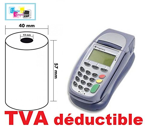 UNIVERS GRAPHIQUE 10 Rolls, Thermal Rolls, Credit Card Paper 57 x 40 x 12 mm, suitable for INGENICO Calculator and payment Terminal for Verifone Credit Card Paper 57x 40x 12mm UGR02HT-02