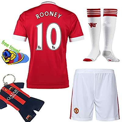 Soccer Kids 2015-2016 United Sportwear Home Kit Rooney #10 Kids Football Soccer Jersey and Shorts & Socks & Key Chain & Towel