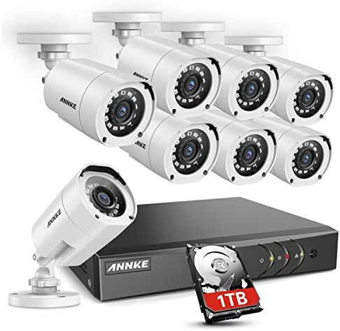 ANNKE 8CH Security Surveillance System H.264+ 1080P Lite DVR with 1TB HDD and (8)×1080P HD Weatherproof CCTV Camera System, 100ft Night Vision, Easy Remote Access