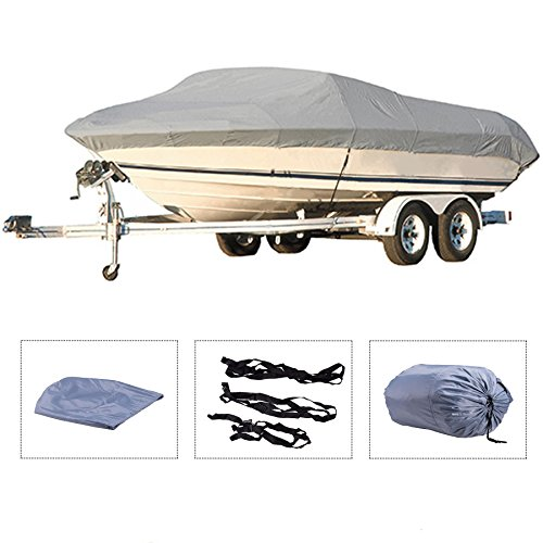 Pinty Oxford Cloth Heavy Duty Waterproof Trailerable Boat Cover fits 16' 17' 18' 19' Boats Quick...