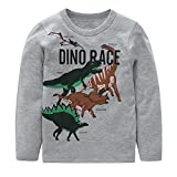 HowJoJo Boys Dinosaur T Shirts Cotton Long Sleeve Shirt Graphic Tees Gray 5T