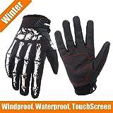 Winter Gloves Skeleton Zombie Bones Design Windproof Waterproof For Riding Biking Climbing Motorcycling Cycling Working Gardening (White-for winter, XL)