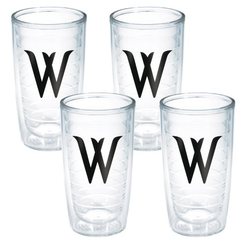 (Tervis Tumbler with Decorative Black Twill Letter-W, 16-Ounce, 4-Pack)