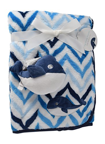 Tag Along Friends Chevron Printed Minky Cozy Baby Blanket with Satin Binding and Stuffed Animal Gift for Boys and Girls, Unisex, Stroller Blanket and Baby Shower Gift Tag Included (Blue Whale) Couture Baby Shower