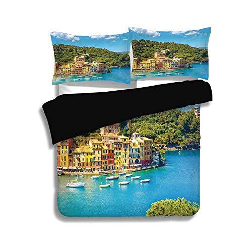 Black Duvet Cover Set Full Size,Italy,Portofino Landmark Aerial Panoramic View Village and Yacht Little Bay Harbor Decorative,Blue Green Yellow,3 Pcs Bedding Set 2 Pillow Shams ()