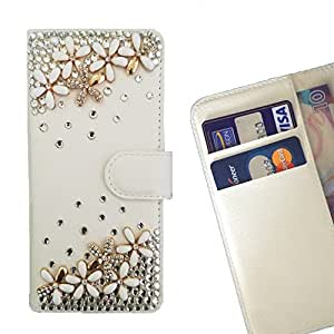 FOR Motorola Moto E 2nd Generation Love flowers Bling Bling PU Leather Waller Holder Rhinestone - - OBBA