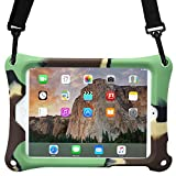 Apple iPad Mini 1 2 3 4 case, COOPER BOUNCE STRAP Shoulder Strap Heavy Duty Work Rugged Tough Protective Drop Shock Proof Rubber Bumper Silicon Carry Kids Toy Holder Cover Bag with Stand (Military)