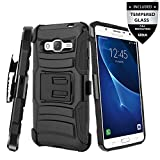 Galaxy Amp 2 Case With Tempered Glass Screen Protector,IDEA LINE(TM) Heavy Duty Armor Shock Proof Dual Layer Holster Locking Belt Swivel Clip with Kick Stand - Black