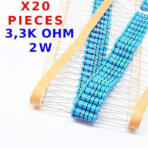 R/ésistance M/étal traversante /± 1/% 3K3 2W vs-elec x20 Pcs 3,3K Ohm