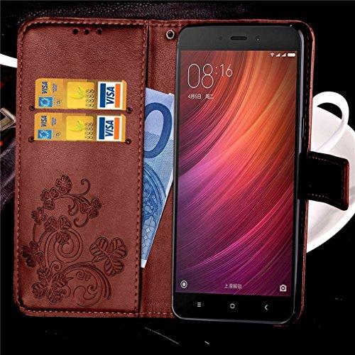 LEMORRY Xiaomi Redmi Note 4X Funda Tapa Cuero Piel Billetera Stand View Cartera para Tarjetas Suave interior TPU Silicona Estuches Bumper Protector Magnética Bolsa Flip Cover Funda Carcasa para Xiaomi marrón