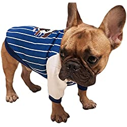 Scheppend Pet Clothes Bulldog Shirt Puppy Sweatshirt for Dogs and Cats (Blue, S)
