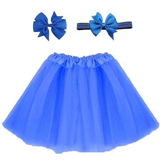 Fousamax - Falda de Tul para niña con Diadema, Color Vibrante Azul ...