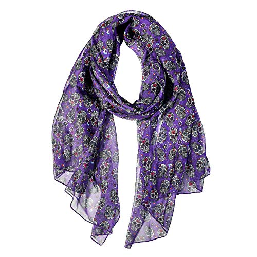 Sugar Skull Gifts Scarfs for Women Lightweight Sugar Skull Print Shawl Head Wraps (Sugar Skull)