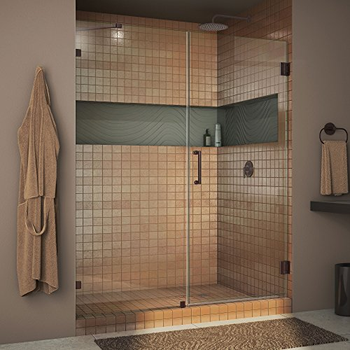 DreamLine Unidoor Lux 60 in. Width, Frameless Hinged Shower Door, 3/8'' Glass, Oil Rubbed Bronze Finish by DreamLine