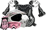 Kids Youth Offroad Helmet Gloves Goggles Chest Protector GEAR COMBO Motocross ATV Dirt Bike MX Pink ( XL )