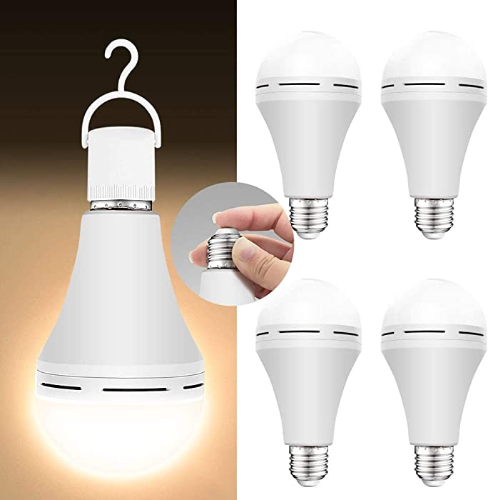 4 Pack Emergency-Rechargeable-Light-Bulb, 3000K Soft White Light Bulbs, Stay Lights Up When Power Failure, 1200mAh 15W 80W Equivalent LED Light Bulbs for Home, Camping, Tent (E27, with Hook)