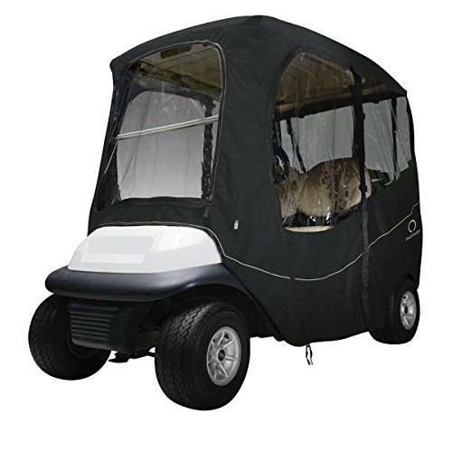 (Classic Accessories Fairway Golf Cart Deluxe Enclosure, Black, Short Roof)