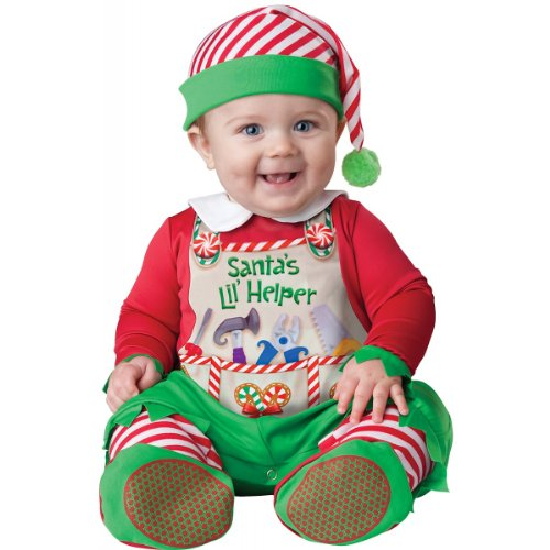 Elf Infant Costumes (InCharacter Costumes Baby's Santa's Lil' Helper Costume, Red, Small)