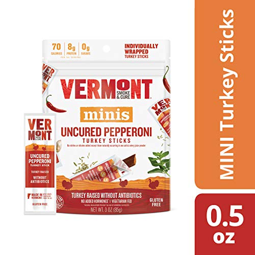 Vermont Smoke & Cure Mini Jerky Stick Go Pack, Turkey, Antibiotic Free, Gluten Free, Uncured Pepperoni, Great Keto Snack, High in Protein, Low Sugar, 0.5oz Meat Sticks, 3oz Pack
