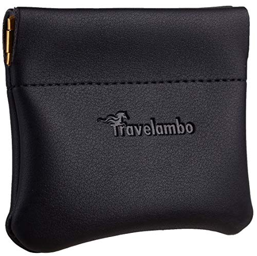 Travelambo Leather Squeeze Coin Purse Pouch Change Holder For Men & Women (01 Vintage Black)