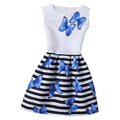 Perfectme Children Clothing 2018 Girls Dress Summer Butterfly Floral Print Teenagers Dresses for Girls Designer Vestido 6-12Y,butterfly3,6 -