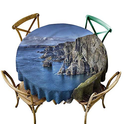 Desk Maple Atlantic (ScottDecor Round Tablecloth Cotton Coastal,Atlantic Ocean Coast Cliffs D70,for 24 inch Table)