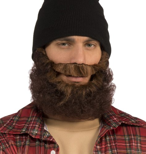 [Brown Curly Beard with Moustache] (Mens Lumberjack Costumes)