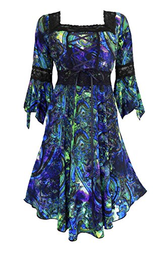 Dare to Wear Renaissance Corset Dress: Victorian Gothic Boho Witchy Women's Gown for Everyday Halloween Cosplay Festivals, Peacock L -