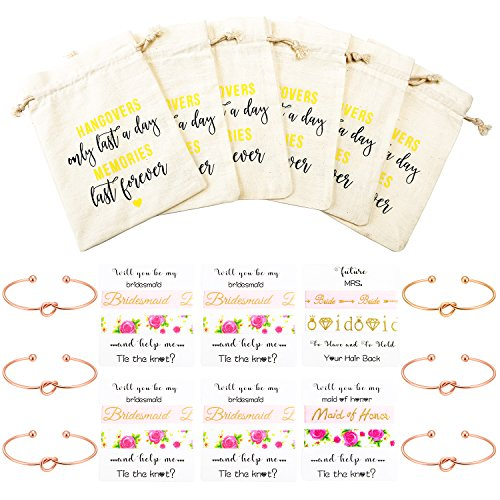 Nymph Code Bridesmaid Gifts Bachelorette Party Supplies - 6 Set Rose Gold Love Knot Bracelets Bridesmaid Hair Ties,Perfect Bridal Shower Gifts Bridesmaid