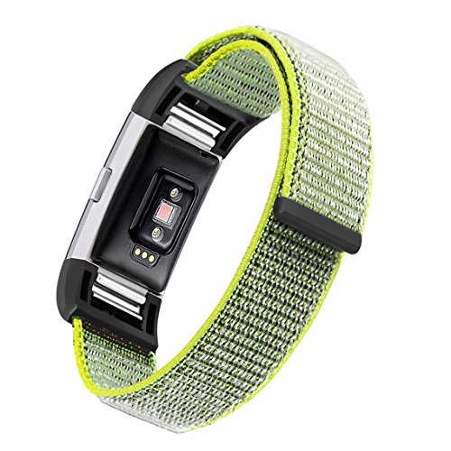 bayite Nylon Bands Compatible Fitbit Charge 2, Replacement Accessory Strap Wristbands Women Men Large Small, Color1 Large