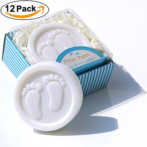AiXiAng Cutest Handmade Blue Pitter Patter Soap Favors Exquisite Gift Packaging (12 Pack) for Baby Boy Baby Shower Favors and (Favor Decorations)