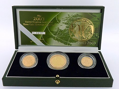 Royal Mint 2003 Gold Proof Sovereign Collection £2 Coin Double Helix 3 Coin Boxed Certificate Authenticity Set
