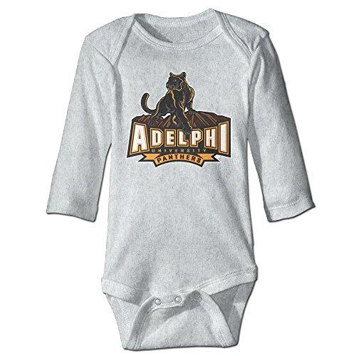 KI3SOP Adelphi University Long Sleeve Onesies Bodysuit For Baby Boys Girls Ash 6 M