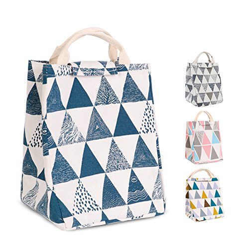 (HOMESPON Reusable Lunch Bag Insulated Lunch Box Cute Canvas Fabric with Aluminum Foil, Printed Lunch Tote Handbag Fordable for Women,Men,School, Office (Triangle Pattern-Blue))