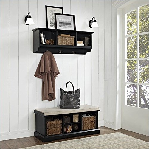 Crosley Brennan 2 Piece Entryway Bench and Shelf Set, Black
