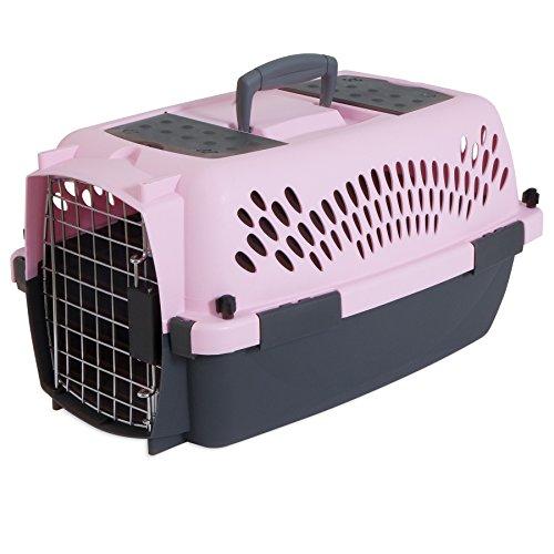 Aspen Pet Pet Porter Plastic Kennel, Up To 10 Pounds, Light Pink/Dark Pink
