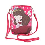 Teens Girls Kids Students Chic Cartoon PU Leather Mini Shoulder Bags Crossbody Bags Cell Phone Case Holder Small Wallet Purse Cash Key Coin Pouches Clutch Handbag Red
