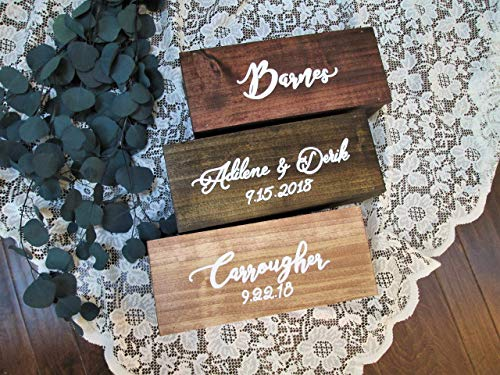 - Personalized wedding gift - wood wine box - custom wedding keepsake box - wedding time capsule box - wooden wine holder - CUSTOMIZE COLORS AND FONT - handmade - hand painted