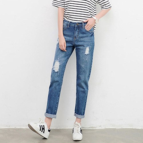 Juleya Women Jeans Straight Jeans Halan Jeans BF Style Highwaist Jeans  Pants Women Casual Denim Pants Ripped Jeans Dark Blue Light Blue XS S M L  XL XXL 3XL: ...