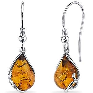 Baltic Amber Tear Drop Earrings Sterling Silver Cognac Color Fish Hook