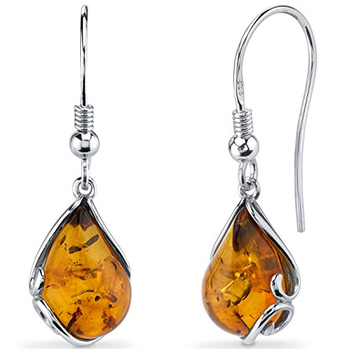 Baltic Amber Tear Drop Earrings Sterling Silver Cognac Color Fish Hook