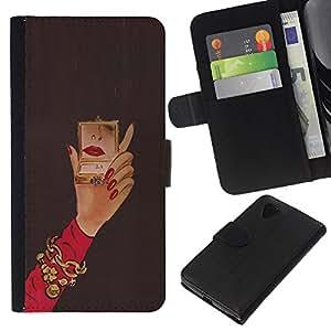 Planetar® Modelo colorido cuero carpeta tirón caso cubierta piel Holster Funda protección Para LG Google NEXUS 5 / E980 / D820 / D821 ( Michael Mirror Woman Red Nails Hand )