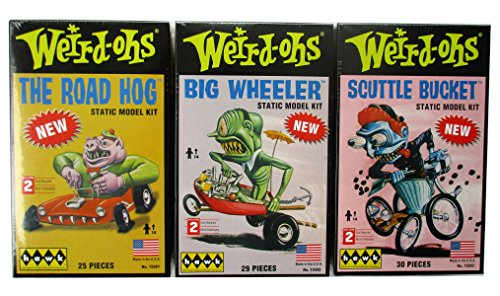 3 Pk Weird Ohs Static Monster Model Kits Big Wheeler The Road Hog and Scuttle Bucket By Hawk Skill Level 2