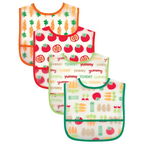 Luvable Friends Water Resistant Bibs with Crumb Catcher Pocket, Orange, 4-Count from Luvable Friends