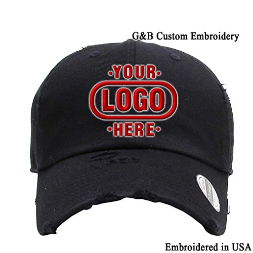 Logo Embroidered Hat Cap - KB ETHOS Distressed Unstructured Adjustable Cap Embroidered with Your Own Text (Black - Logo)