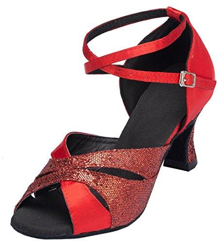 L120 41 Cha Satin Mid Red cha Peep Heel Party Womens Dance YYM Ballroom Shoes Latin EU Toe Wedding HBddqaw