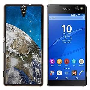 TECHCASE---Cubierta de la caja de protección para la piel dura ** Sony Xperia C5 Ultra ** --Espacio Estrellas Cielo Azul Tierra Universo Planet