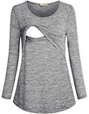 BAIKEA Women's Loose Comfy Layered Nursing Top and Shirts for Breastfeeding